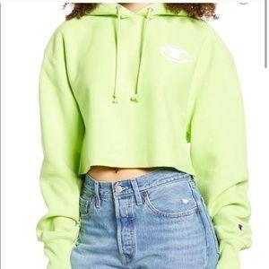 Champion Reverse Weave Crop Hoodie Neon Green
